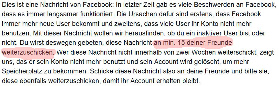 Kettennmail in Facebook